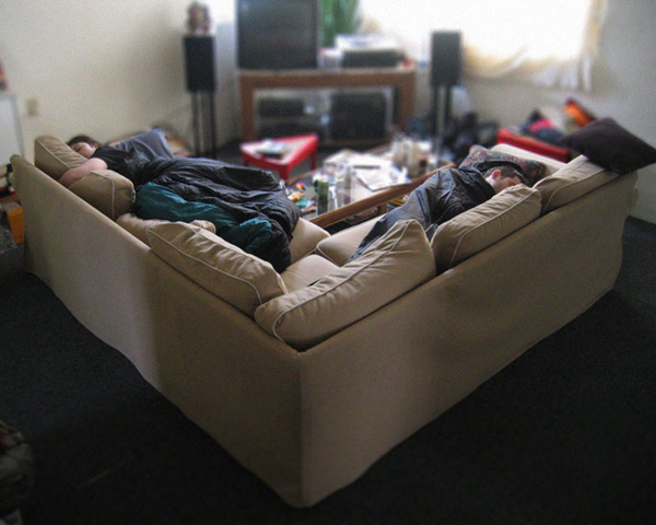 Sharing an L-shaped couch